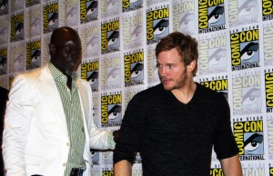 Djimon Hounsou and Chris Pratt leaving the Guardians of the Galaxy press conference (photo by Frances Vega)