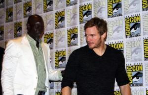 Djimon Hounsou and Chris Pratt leaving the Guardians of the Galaxy press conference (photo by Frances Vega)