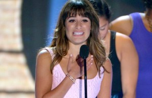 Lea Michele accepting Teen Choice Award for Choice TV Actress in a comedy (photo credit: John Shearer, AP)