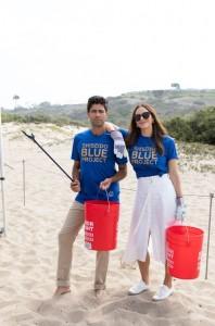 Shiseido Beach Clean Up- Adrian Grenier and Kat McPhee Foster