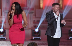 """AMERICAN IDOL: Jordin Sparks and contestant Trent Harmon in the """"""""Showcase #4: Judges Vote"""" episode of AMERICAN IDOL airing Thursday, Feb. 18 (8:00-10:00 PM ET/PT) on FOX. © 2016 FOX Broadcasting Co. Cr: Ray Mickshaw / FOX."""